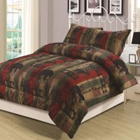 Rustic Southwest King Comforter 3 Piece Bedding Set Bear Cabin Lodge Nature Wildlife