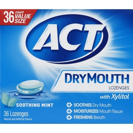 (2 pack) ACT Dry Mouth Soothing Ming Lozenges with Xylitol, 36ct
