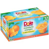 (24 Cups) Dole Fruit Bowls Mandarin Oranges in 100% Fruit Juice, 4 oz cups