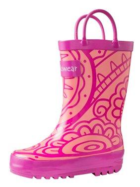 Oakiwear Kids Rain Boots For Boys Girls Toddlers Children - Henna Pink