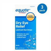 (2 Pack) Equate Dry Eye Relief Lubricant Eye Drops, 0.5 Oz
