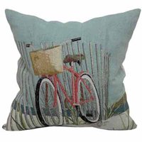 """Better Homes and Gardens Beach Bicycle Decorative Toss Pillow 18"""" x 18"""""""