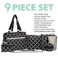 SoHo Collections, Diaper Bag Tote Nappy Travel with Stroller Straps, 9 Piece Complete Set, Charlotte