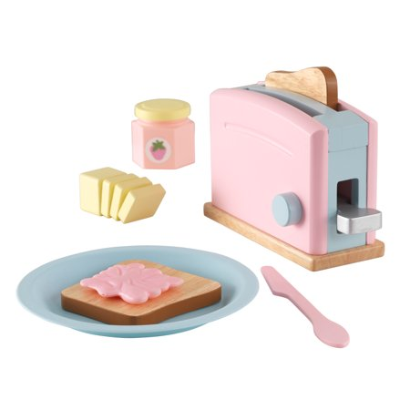 Play Kitchen Toaster (KidKraft Wooden Toaster Playset with 8 Pieces and Working Handle, Play Kitchen Toy - Pastel)