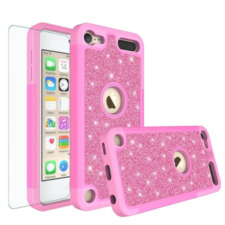 Apple iPod Touch 5, Touch 6, Touch 7 Generation Cover, Luxury Glitter Bling Hybrid Case w/ [HD Screen Protector] Cover - Hot Pink