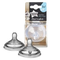 Tommee Tippee Closer to Nature Medium Flow Baby Bottle Nipples, 3+ Months - 2 Count
