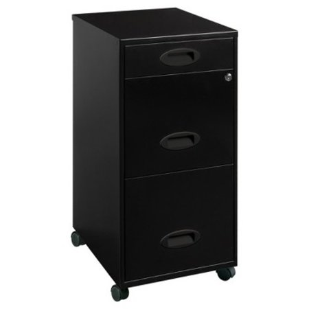 Lorell 3 Drawers Metal Vertical Lockable Filing Cabinet, Black ()