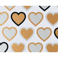 (2 Pack) American Greetings Gold Silver Hearts Wrapping Paper Sheet, 2.5 x 3.3 Ft.