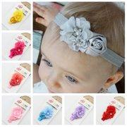 93adfddf6314 8 Colors Cute Infant Baby Girls Sweet Rose Flowers   Pearl Decor Elastic Headband  Hair Band