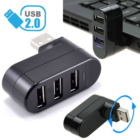 TSV Mini 3 Port USB 2.0 Rotating Splitter Adapter Hub For PC Laptop Notebook (Usb Wan Port)
