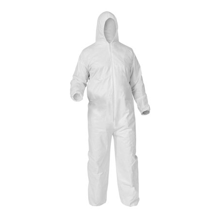25pcs Protective Disposable Coveralls w/ Hood Size: Large