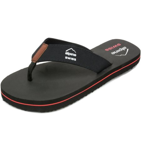 Alpine Swiss Men's Flip Flops Beach Sandals Lightweight EVA Sole Comfort (Minnetonka Leather Flip Flops)
