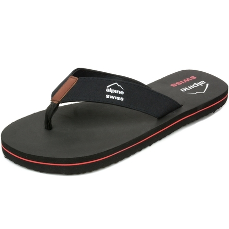 Black Flower Thong Sandal (Alpine Swiss Men's Flip Flops Beach Sandals Lightweight EVA Sole Comfort)