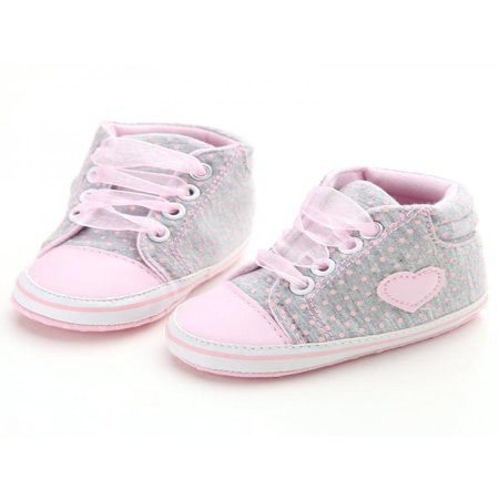 Nicesee Newborn Baby Girls Laces High-Top Ankle Sneakers Soft Sole Crib - Toddler Baby Pink Patent Footwear