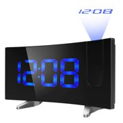 """VicTsing Projection Alarm Clock, [Curved-Screen] Projection Clock, Digital FM Clock Radio with Dual Alarms, 5"""" LED Display, USB Charging, Battery Backup (Blue)"""
