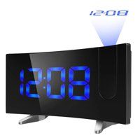 "VicTsing Projection Alarm Clock, [Curved-Screen] Projection Clock, Digital FM Clock Radio with Dual Alarms, 5"" LED Display, USB Charging, Battery Backup (Blue)"