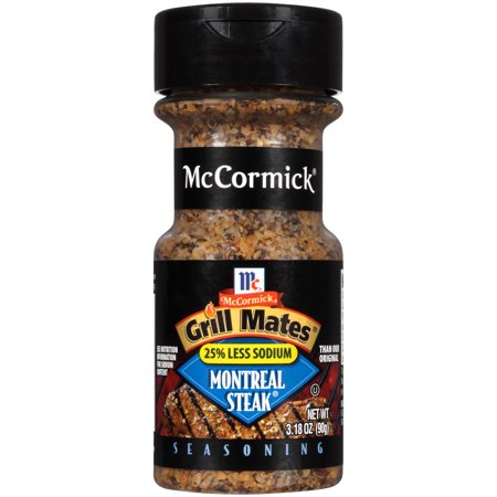 - (2 Pack) McCormick Grill Mates 25% Less Sodium Montreal Steak Seasoning, 3.18 oz