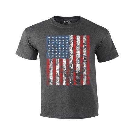 Newcastle United Away Shirt - American Flag Mens T-shirt United States USA Tattered Flag