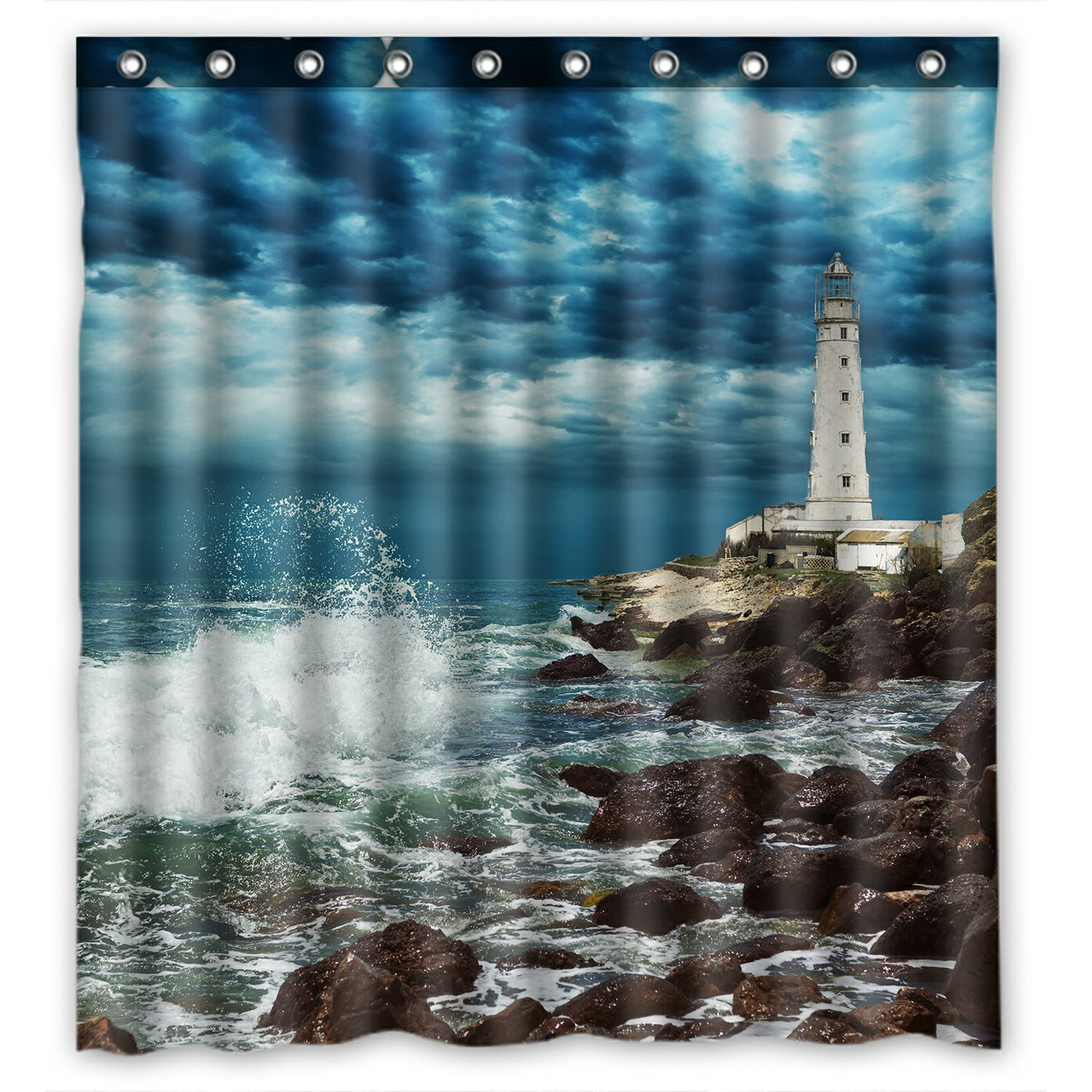 60x72 Inches Pale Blue Purple Red Tgyew Lighthouse Shower