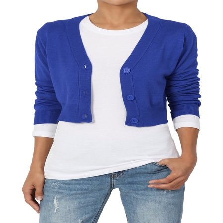 - TheMogan Women's S~3XL 3/4 Sleeve Button V-Neck Cropped Fine Knit Sweater Cardigan