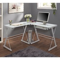 Walker Edison Glass and Metal Corner Computer Desk, Multiple Colors