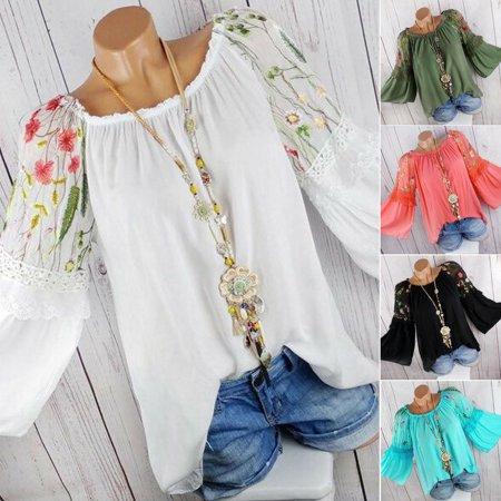 Plus Size Boho Women Long Sleeve Kaftan Baggy Blouse T Shirt Tops Casual Tunic (Long Sleeve Belted Tunic Shirt)