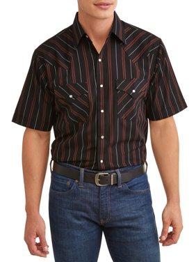 Plains Men's Short Sleeve Stripe Western Shirt, up to Size 4XL