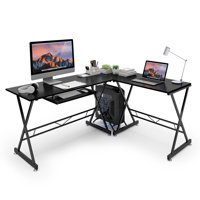 SLYPNOS L-Shaped Corner Computer Desk PC Gaming Table Laptop Study Workstation with Easy-Glide Keyboard Tray and Free-Standing CPU Stand, Spacious Work Area for Study Home Office, Black Walnut