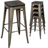 Best Choice Products 30in Set of 4 Industrial Style Distressed Stackable Metal Bar Stools w/ Wood Seats - Bronze Finish