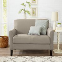 Atlantic Home Fashions Twill Form Fitting Stretch Fit One Piece Strapless Slipcover Couch Cover, Loveseat, Pale Silver