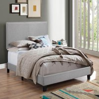 Crown Mark Erin Gray Upholstered Bed with Nail Head Trim, King