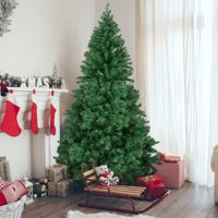Best Choice Products 6ft Premium Hinged Artificial Christmas Pine Tree Holiday Decoration w/ Solid Metal Stand, 1,000 Tips, Easy Assembly - Green