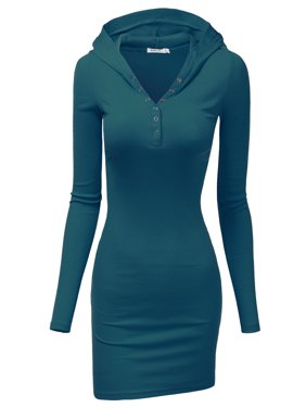 Doublju Women's Long Sleeve Henley Neck Basic Hoodie Dress TEAL L