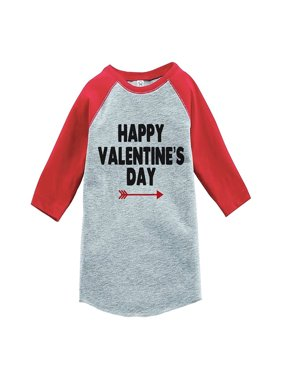 Custom Party Shop Boy's Happy Valentine's Day Red Raglan - Small Youth (6-8) T-shirt