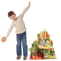 BBI Dinosaur Toys Figures Dinosaur Playset for Children Indoor Multi Level 4 Sided Wood Set for Kids Jurassic Adventures
