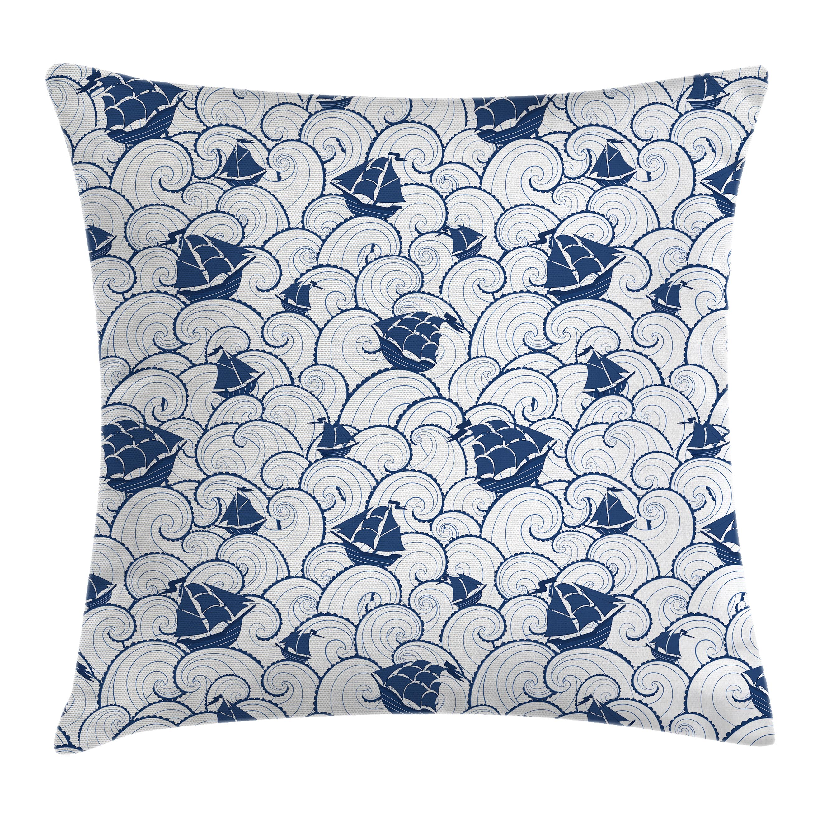 Dried Rose White Cute Baby Boy Pattern with Transportation Helicopter Air Balloon Car Ship Airplane Throw Pillow Cushion Cover 18 X 18 inches Decorative Square Accent Pillow Case