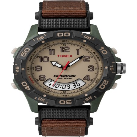 Men's Expedition Combo Watch, Brown Nylon Strap Brown Expedition Watch Band