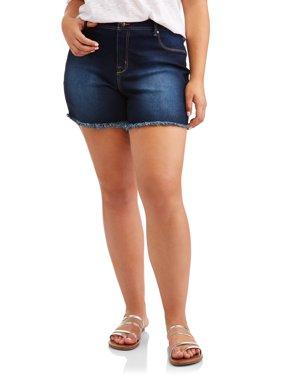 Women's Plus Raw Edge Denim Short