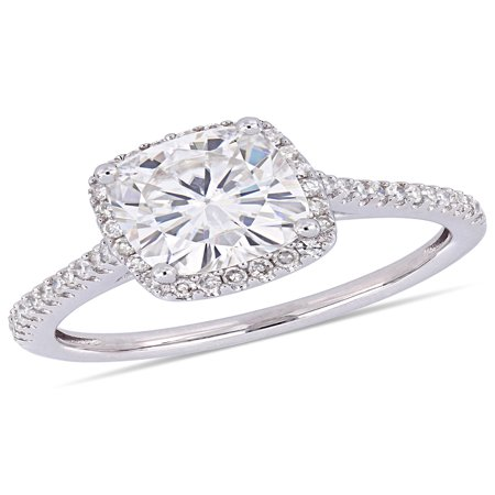 Moissanite Halo Ring (2 Carat T.G.W. Moissanite and 1/4 Carat T.W. Diamond 14kt White Gold Halo Engagement Ring )