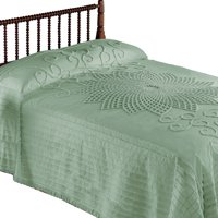 Collections Etc. Vintage Starburst Bedspread with Country Handwork Detailing, Lightweight Bedspread, Twin, Sage Green