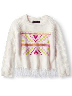 Derek Heart Fringe Hem Raglan Pullover Sweater (Big Girls)