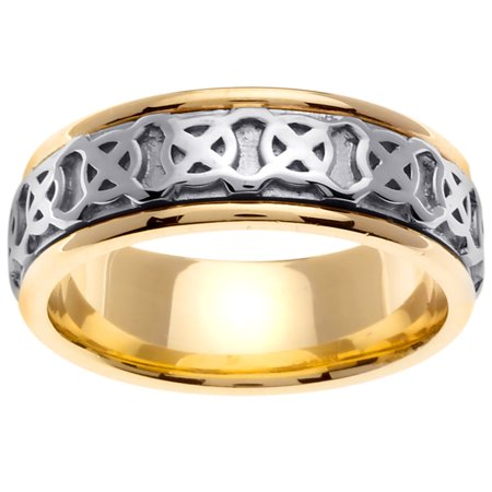 14K Two Tone Gold Four Squares Celtic Comfort Fit Women's Wedding Band (8mm)