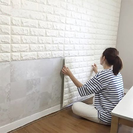 Art3d 6 Sq.Ft Peel and Stick 3D Wall Panels White Brick Wallpaper / Wall Decal / Wall Accent / TV (Graffiti Brick Wall)
