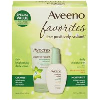 Aveeno Positively Radiant Gift Set, Face Scrub & Moisturizer, Set of 2