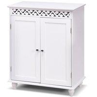 Gymax White Wooden 2 Door Bathroom Cabinet Storage Cupboard 2 Shelves Free Standing