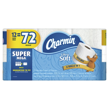 Charmin Ultra Soft Toilet Paper, 12 Super Mega Rolls (= 72 Regular Rolls)