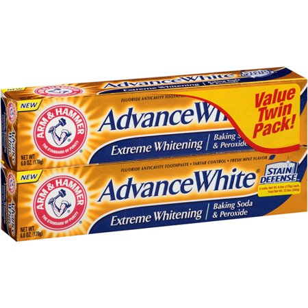 Arm & Hammer Advance White Extreme Whitening Baking Soda and Peroxide Toothpaste, 6 Oz, Twin Pack Arm Hammer Enamel Care Toothpaste