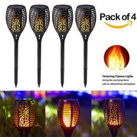 (1-4 PCAK) Waterproof Solar LED 96 Lights Dusk to Dawn Auto On/Off Flickering Flames Torches Lighting for Outdoor Decoration Festival Atmosphere Garden Pathways Yard Patio Halloween Holiday