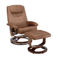 Relaxzen Reclining Massage Chair and Ottoman, Brown Microseude