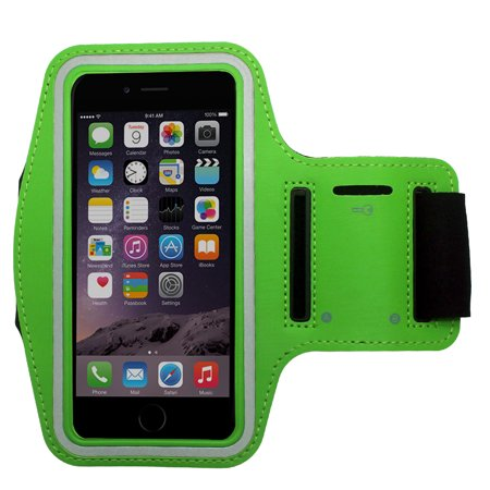 Green Water Resistant Cell Phone Armband Running Sports Case for Samsung Galaxy J7 Prime, J7 (2017), J7 Neo - Adjustable Velcro, Reflective, with Screen Protection - Neon Armbands